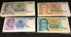 Yugoslavia - 100 x 5.000, 10.000, 50.000 and 500.000 Dinars 1993 - Pick 128, 129, 130, 131 ( 400 banknotes)