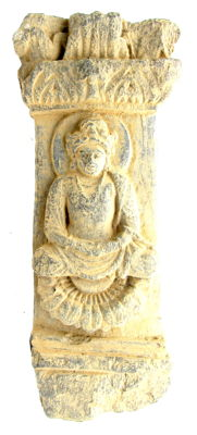 Ancient Gandhara Stone Statue of Buddha on Pillar - 278mm