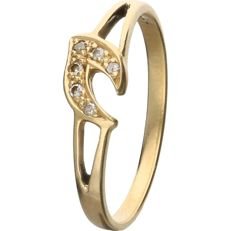 18 kt - Yellow gold ring set with 6 single cut diamonds totalling 0.03 ct. - Ring size: 16.5 mm