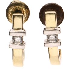 14 kt, bi-colour, yellow and white gold earrings, each set with one brilliant cut diamond of approx. 0.02 ct each - Length: 13.52 mm
