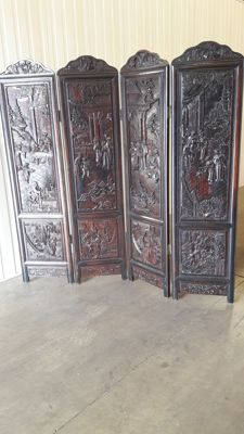 Rare antique folding screen - China - mid 20th century