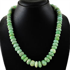 Amazonite necklace with 18 kt (750/1000) gold, length 60cm