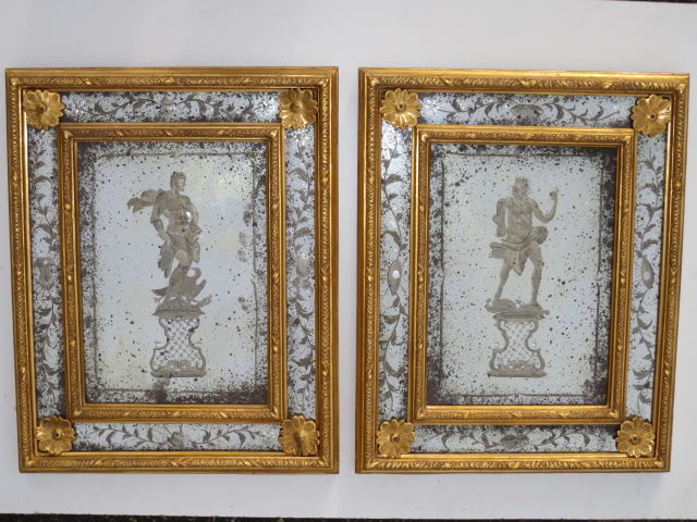 A pair of mirrors in glass and gilt wood - 20th century