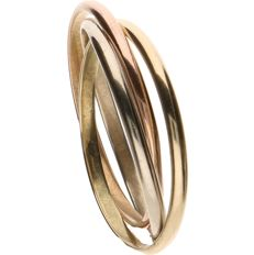 14 kt, Tricolour, yellow, white, rose gold ring - Ring size: 17 mm