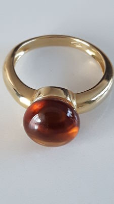 18 kt yellow gold design ring with Madeira citrine of 3.24 ct.