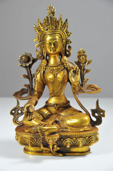 Bronze White Tara - China -  late 20st century (28 cm)