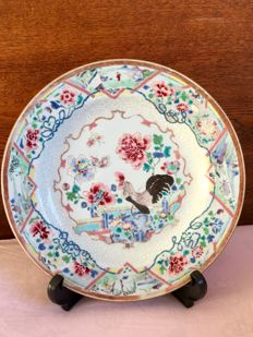 Famille rose large charger with cockerel and peony – China – 18th Century (2)