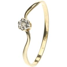 14 kt. Yellow gold solitaire ring set with a brilliant cut diamond of approx. 0.01 ct. - ring size: 18.25 mm