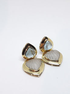 Earrings with light blue topaz and rock crystal - 18 kt yellow gold
