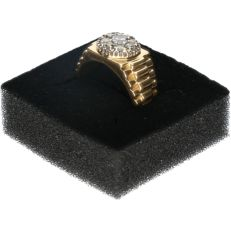 14 kt - Yellow gold ring set with 9 brilliant cut diamonds of approx. 0.77 ct in total - Ring size: 19.75 mm