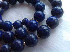 Necklace of Lapis Lazuli with 18 kt/750 Yellow gold, length: 49 cm