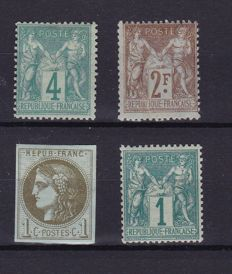 France 1870s/1900 - composition with - Yvert 39c, 61, 63 and 105