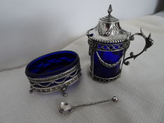 Dutch silver mustard pot and German silver mustard cellar and Dutch silver mustard spoon