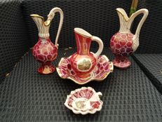 5 pieces Belgium pottery made by Laeken