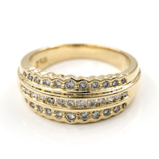 Yellow gold, 18 kt - Cocktail ring - Brilliant cut diamonds, 1.00 ct - Cocktail ring size: 15 (Spain)