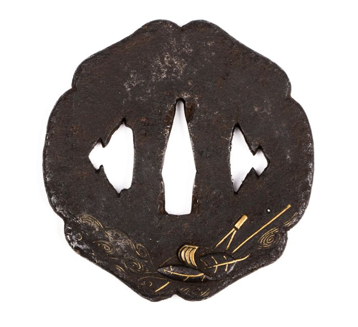 "Iron tsuba, brass inlay ""Hira Zogan"" - Japan - 18th/19th century"