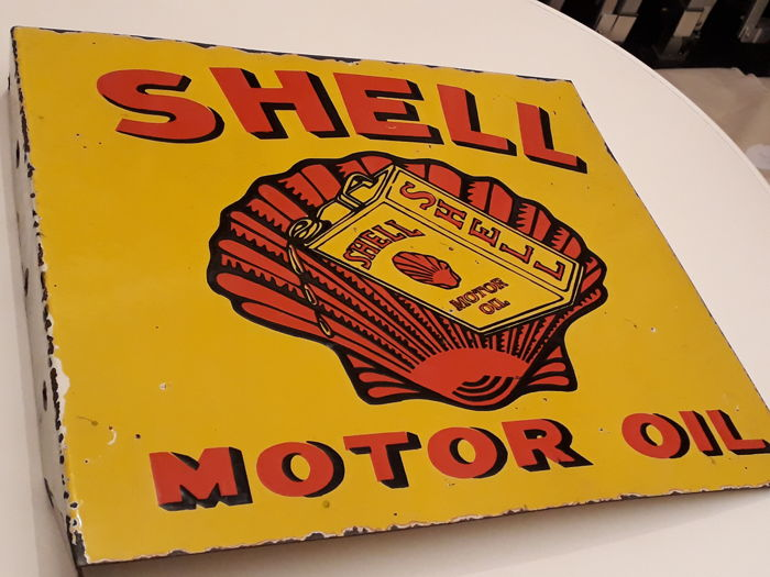 Shell Motor Oil Enamel Advertising Sign