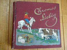 Collection of 50 sets with old Liebig chromo cards in album