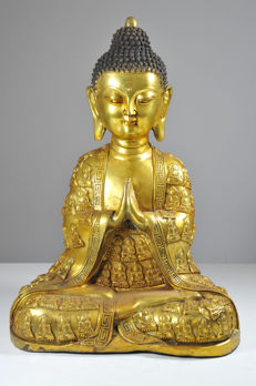 Bronze Buddha in Praying Position - China - Second half 20th Century (42 cm)