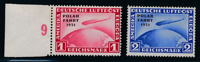 "German Reich - 1931 - polar voyage Graf Zeppelin 1 RM & 2RM with printing error (hyphen after ""polar"" is missing), Michel 456 I & 457 I tested Peschl BPP"