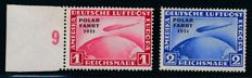 "German Empire - 1931 - Polar Expedition Graf Zeppelin 1 RM & 2 RM with overprint error (hyphen after ""polar"" is missing) Michel 456 I & 457 I tested Peschl BPP"