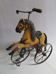 Horse - tricycle - combination of wood and metal and horse hair