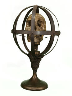 Interesting life-size replica Human Skull in Victorian-style Iron cage on custom-stand - 50cm