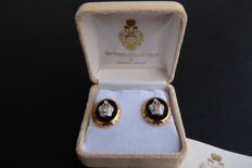Genuine earrings by Tatiana Fabergé - Vintage 1970 - Rhinestones - 24K Gold plated - Signed