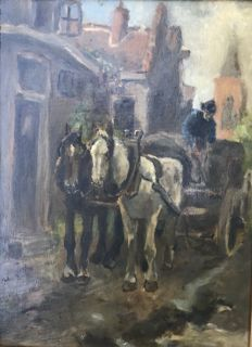 A de la Rivière - attributed to (1857-1941) - Paard en wagen