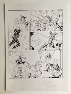 Original Art Splash Page By Richard Elson - Pen & Ink - Spider-Man : Tower Of Power #16 - Page 8 - (2008)