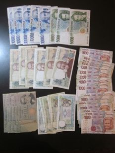 Italian Republic - 52 banknotes of 10,000 - 5,000 - 2,000 - 1,000 and 500 lire