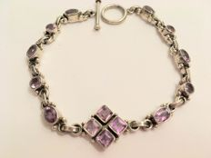 Vintage silver bracelet with amethysts of 4.92 ct in total - 1970