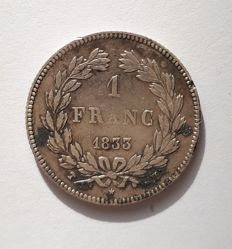 France - 1 Franc 1833 MA (Marseille) - Louis Philippe - silver