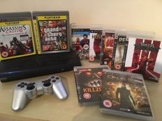 SONY PS3 Console + Silver Wireless Controller + 9 Massive Games inc RED DEAD & DEUS EX + All Leads & Cables