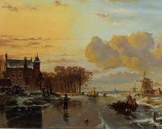 J. Beekhout (1937) - Hollands winterlandschap