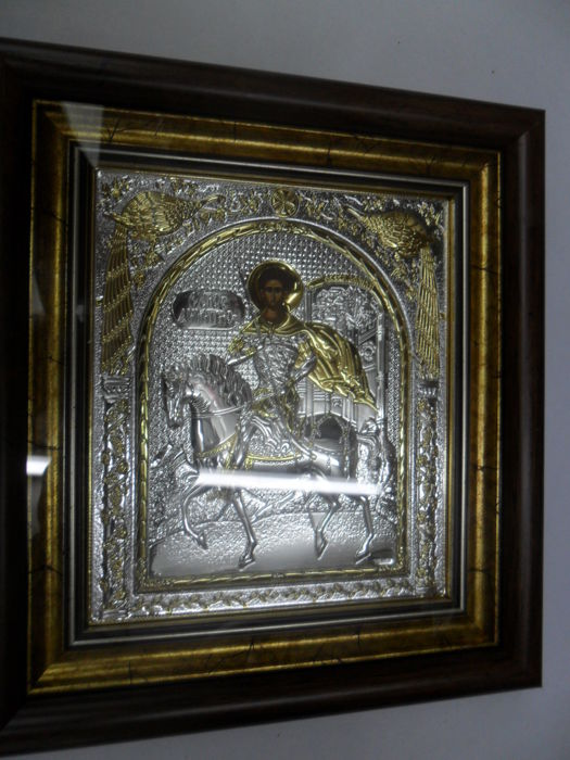 Pure Silver 999 Golded Icon, Holy Dimitrios -20th century