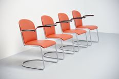 W.H. Gispen for Gispen - 413R cantilever chairs, 4 pieces