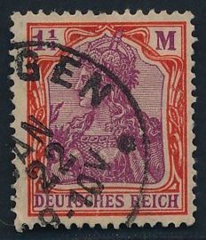 German Empire/Reich - 1922 -Germania 1 1/4 Mark with four pass water marks, Michel 151 Y with photo attest
