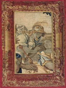Aubusson antique French tapestry from the 18th century, 196 x 110 cm