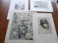 Four prints attributed to Rudolf Schönberg (1901-1944) - Various scenes