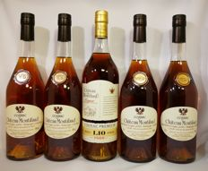 "Chateau Montifaud Cognac ""Petit Champagne"" - 2x VSOP & 1x 10 years Premium & 2x VS - 5 bottles in total"