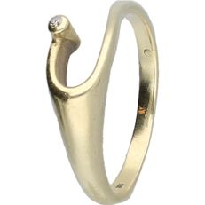 14 kt - Yellow gold ring set with a diamond of approx. 0.01 ct - ring size: 17.75 mm