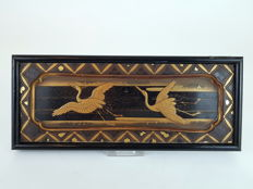 Gold lacquer panel of two Cranes (Grsu japonensis), - Japan - 19th century (Meiji period)