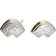 14 kt - Yellow gold earrings set with 2 brilliant cut diamonds, approx. 0.01 ct in total, in a white gold setting - Length x width: 1 x 0.8 cm