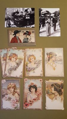 Lot of 7 postcards from 1900 + 2 photocards Desoye. + 1 card Ethel Parkinson.M.M Vienne.