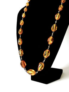 Long vintage necklace with Baltic amber beads (not pressed), 47.6 grams, Baltic region