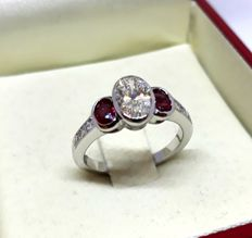 Ring in 18 kt gold with 1.20 ct diamonds and 0.60 ct rubies - Size 13.5 - 17 mm