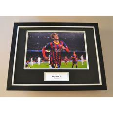 Neymar Jr Hand Signed and Framed Large Photo Display FC Barcelona - with Certificate of Authenticity and Photo Proof.