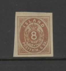 Iceland 1873 - Number with crown in oval - Michel 4 C