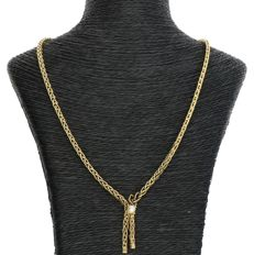 14 kt - Yellow gold fox tail link necklace with centre piece set with a cultured pearl - Length: 45 cm